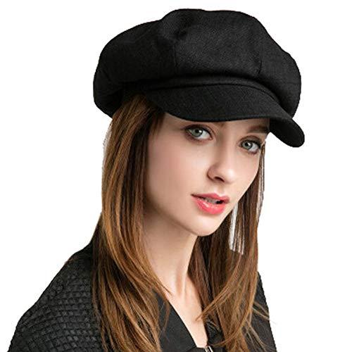 SIYWINA Cappello Visiera Donna Basco Scozzese Newsboy cap Cabbie Hat Nero