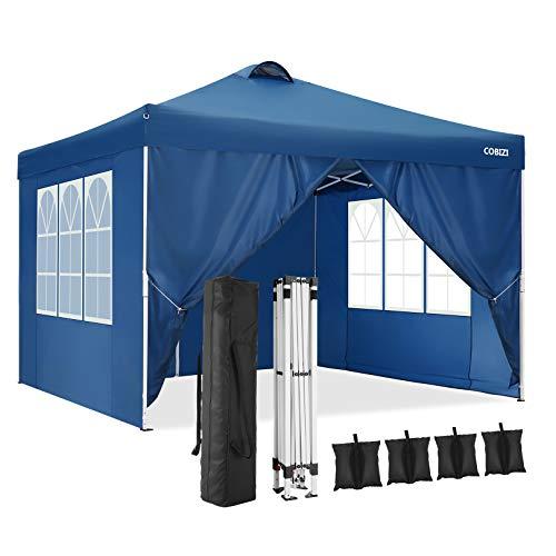 Cobizi Gazebo 3x3m Impermeabile Pop-up Gazebo con 4 Pareti Laterali, Tenda per Eventi Esterni e Feste Gazebo Commerciale con Ventilazione e Borsa per il Prasporto, 4 Sacchi per Pesi(3x3m, Blu)