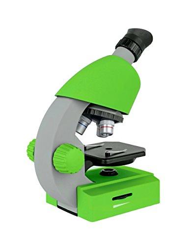 Bresser Junior Einsteiger Mikroskop 40-640x mit Durchlicht LED-Beleuchtung und mit 3 Objektiven, inklusive umfangreichem Zubehör wie Dauerpräparaten, Objektträgern und Mikroskopierbesteck, grün