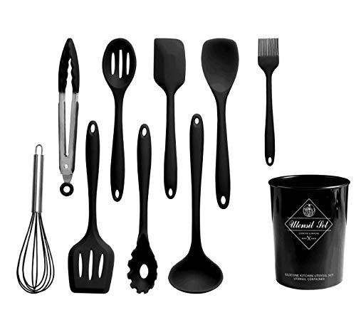 BCHEF Silicone Utensils Heat Resistant Rubber Non-Stick BPA Free Non Toxic Kitchen Set for Cooking, Baking and Mixing Ergonomic with Best 10 pcs Hygienic Seamless Design tongs spatula holder