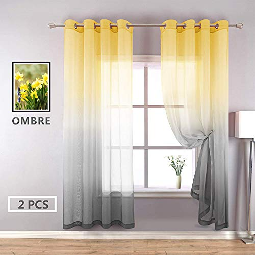 YZhome Yellow and Gray Sheer Curtains for Kids Room 2 Panel,Simple Reversible Sunshine Gradient Tulle Grommet Top Faux Linen Curtain Drapes for Bedroom Living Room (52 x 84 Inch,Yellow to Grey)