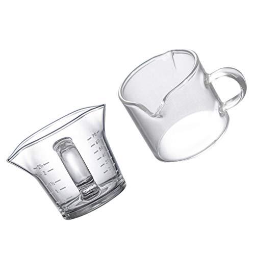 YARNOW 2Pcs Glas Messbecher Messbecher Küche Kleine Kaffee Milch Creamer Krug mit Skala Milch Kaffee Espresso Barista Krug Backen Liefert