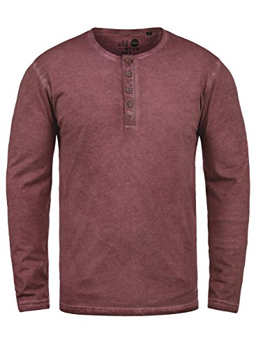 !Solid Timur Herren Longsleeve Langarmshirt Shirt Mit Grandad-Ausschnitt Und Brusttasche Aus 100% Baumwolle, Größe:XL, Farbe:Wine Red (0985)