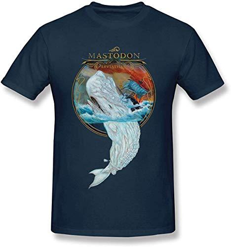 ALIYOUKNOW Hombre/Men's Mastodon - Leviathan Soft Navy T-Shirts for Men Camisetas Hombre