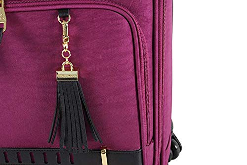 Steve Madden Luggage Wheeled Suitcase Under Seat Bag (Peek-A-Boo Purple)