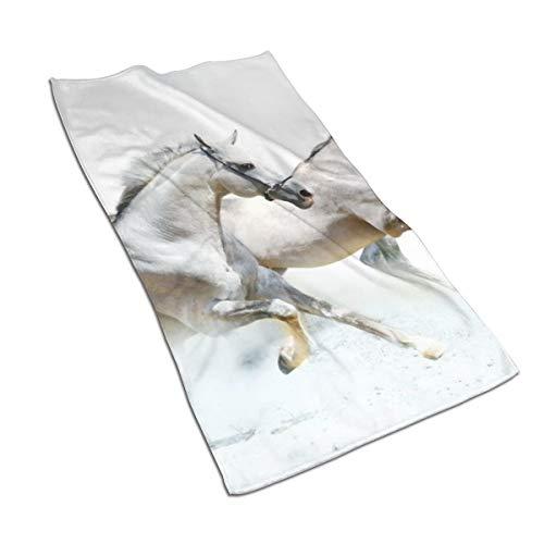 N/A - Juego de toallas de baño de algodón egipcio con impresión de acuarela y impresión artística, ultra absorbente, para viajes, deportes, caballos, caballos, 69,8 x 39,9 cm