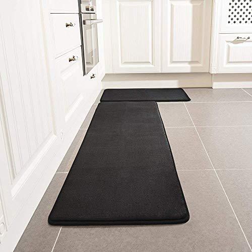"Kitchen Rug Set, LEEVAN Memory Foam Kitchen Comfort Mat Super Soft Rug Microfiber Flannel Area Runner Rugs Non-Slip Backing Washable Bathroom Rug Set of 2 Pcs-19""x31""+19""x63"" (Black) Iowa"