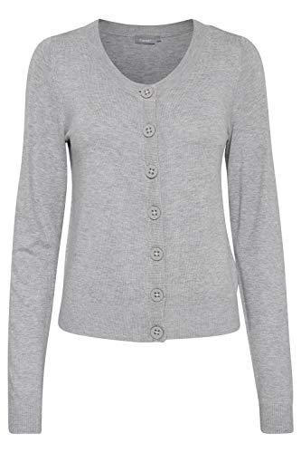 fransa Damen Strickjacke Zuvic 71 Cardigan, Größe:44 (Herstellergröße XXL), Farbe:Grau (Light Grey 67971)