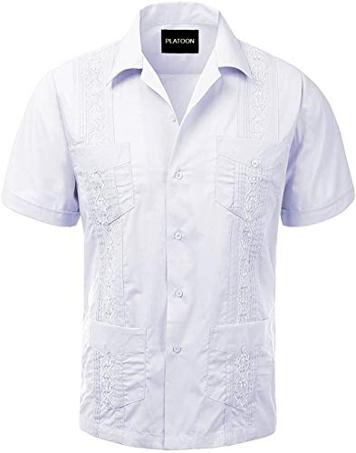 Platoon Guayabera Short Sleeve Mens Cuban Shirt Wedding Cigar Beach Bartender (XL, White)