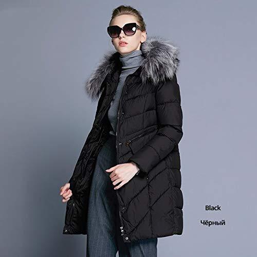 DTNSYRF Kragen aus Naturmantel Damenparkas Bio-Daunen Warme, verdickende Baumwolle Gepolsterter Damenmantel L 15901 schwarz