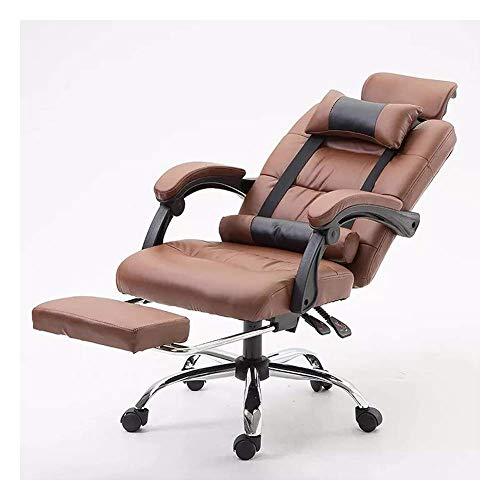 Ergonomische Computer-Bürostuhl, Boss Stuhl Gaming Chair Rückenlehne Startseite Leder Stuhl Reclining Aufzug Drehstuhl-Hellbeige ZHNGHENG (Color : Brown)