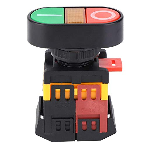 Odorkle Interruptor de Botón Pulsador Doble Interruptor de Botón Momentáneo de Arranque Y Parada con Lámpara de Señal LED Botones Rojos o Verdes(380VAC)