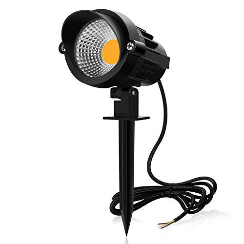 MEIKEE 7W LED Lámpara de césped con espiga, 800 LM Spike luces con soporte de pinchos para jardín, luz blanco cálido, Super brillante proyector para jardín, pared, camino, impermeable IP66(85V-265V)