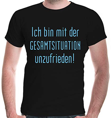 buXsbaum® T-Shirt Ich Bin mit der Gesamtsituation unzufrieden | XL, Schwarz