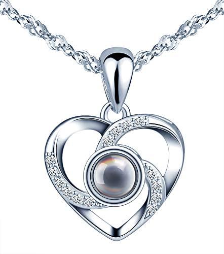 CPSLOVE Collar de corazon de plata 925, Colgante de piedra de vidrio negro con proyeccion de\Te amo\ en 100 idioma, regalo de cumpleanos de Navidad y de San Valentin