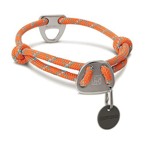 Ruffwear Seil-Halsband für Hunde, Mittelgroße Hunderassen, Größenverstellbar, Reflektorstreifen, Größe: M (36-51 cm), Orange (Pumpkin Orange), Knot-a-Collar