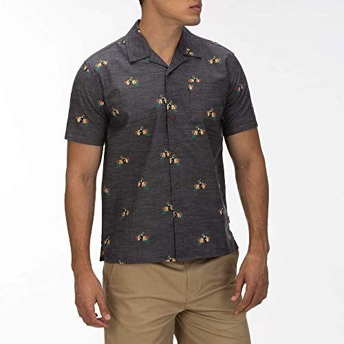 Hurley M Canopy Woven S/S Camisas, Hombre, Anthracite, S