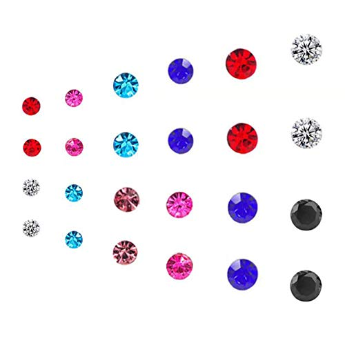Spiritlele 12 Pairs Colors Crystal Magnetic Earrings Set CZ Click on Non Piercing Stud Earrings For Girls