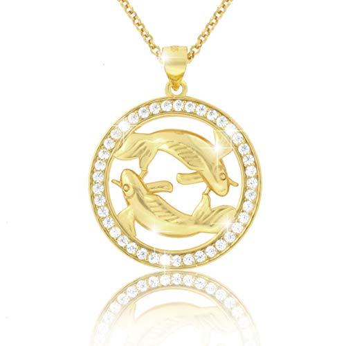 PAVEL´S elegante Damen Halskette Kette Sternzeichen FISCHE 18 Karat Gold plattiert glänzende Zirkonia in AAA Qualität aus der Kollektion ECLIPSE, inkl. Schmuckbox und Echtheits-Zertifikat