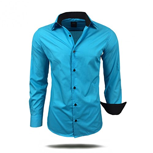 Avroni - Chemise Casual - Homme - Turquoise - Small