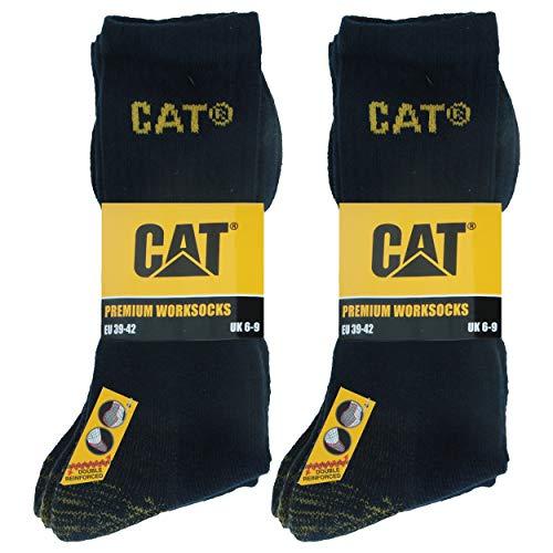 Caterpillar Premium Work Socks 6 Paia di Calze da Lavoro Uomo Scarpe Antinfortunistiche, Doppio Rinforzo su Punta e Tallone, Ottima Qualità Spugna di Cotone (Blu, 43-46)