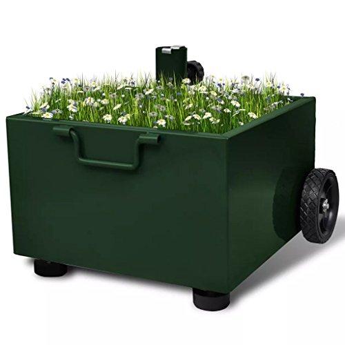 Nishore Bepflanzbarer Sonnenschirmständer Schirmständer Blumentopf 45 x 45 x 26 cm (L x B x H) Mit 2 Rollen und 1 Griff für einfachen Transport