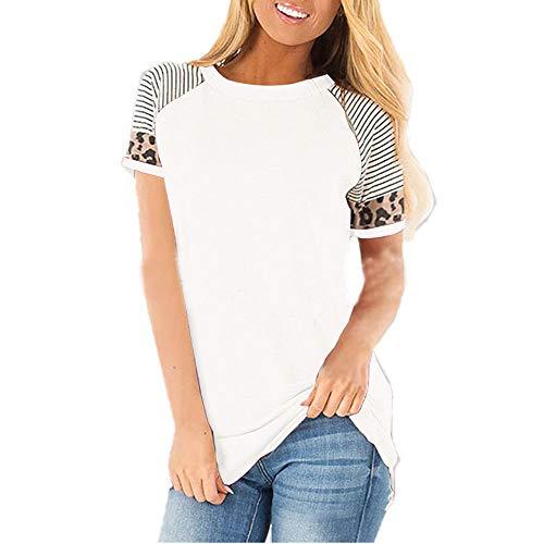 Shirt Donna T-Shirt Donna Estiva Maniche Corte Stampa Leopardata Righe Colorblock Primavera Estate Nuova Moda Casual Confortevole Cotone Donna Top Camicia Casual K-White M