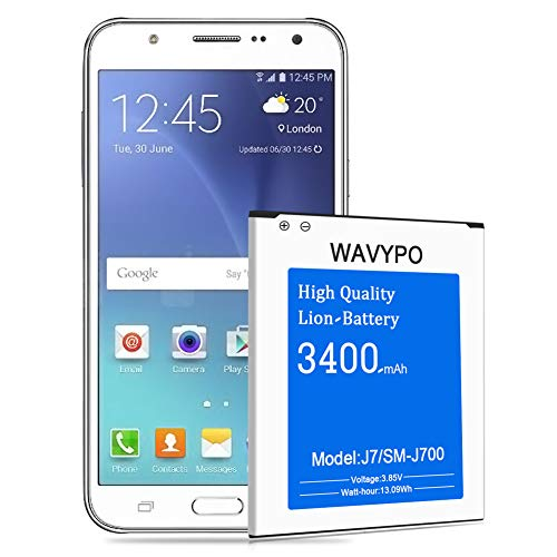 (Upgraded) Wavypo Galaxy J7 Battery, 3400mAh Replacement Battery for Samsung Galaxy J7 SM-J700 (2015 Ver), EB-BJ700BBC/ EB-BJ700BBU, J700H, J700P, J700T, J700T1, J700M [24 Months Service]