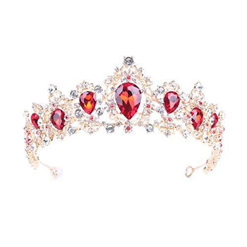 JHD Hochzeitskrone Kopfschmuck Blau/Rot Strass Brauthaar Accessoires Prinzessin Kristall Kopfbedeckungen