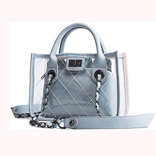 ZXWYB 作業ショッピング運行日報携帯用ハンドバッグの女性の透明なPUチェーンバッグ防水軽量トップハンドルショルダーバッグ