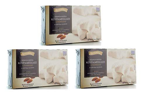 3x 430g Kourabiedes mit Mandeln von Chrisanthidis Gebäck Kekse in Puderzucker Mandelgebäck Plätzchen 3er Set + 10ml Olivenöl zum testen