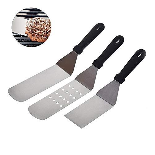 Ensemble de grattoir à métal en Acier Inoxydable, Pelle à Steak frite de Style Japonais pour ustensiles de Cuisine, poignée en Plastique à Manche en Acier Inoxydable