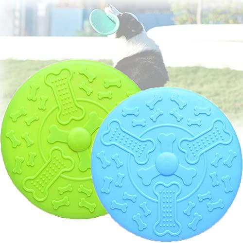 2 Piezas Frisbee Perro,Juguete de Disco Volador para Perro, para Adiestramiento de Perros Juguetes de Tiro, Captura y Juego