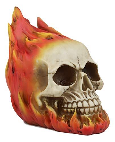 Ebros Gift Flaming Fire Hot Rod Skull Statue Hell Inferno Burning Skulls Biker Ossuary Graveyard Spooky Halloween Themed Decor Day of The Dead DOD Skeleton Skeletons Macabre Sculpture