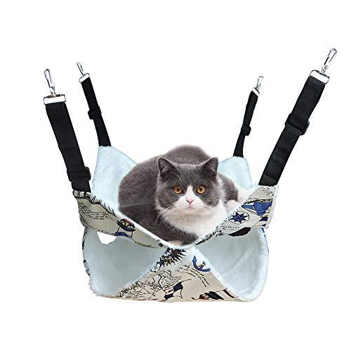 Andiker Hängematte Käfig Kätzchen, Doppelschicht Hängebett für Katzen, Schlafsack Design für Kätzchen Frettchen, Ratte, Kaninchen, Chinchilla oder Andere Haustiere, 3 Größe (Dick, L)