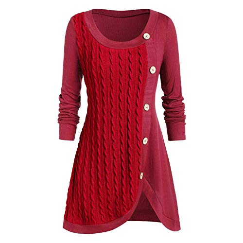 Meclelin Damen Strickkleid Strickjacke Langarm Knielang Pullover Business Formal Kleider Elegante Casual Vintage O-Ausschnitt Kleid