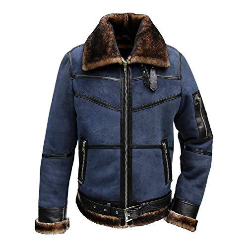 Herren Lammfelljacke B16 Blau Fliegerjacke Pilotenjacke U.S. Air Winterjacke echtes Merino Schaffell Lederjacke Felljacke Fashion Jacke Größe M