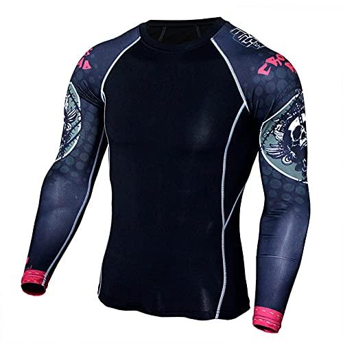 Camiseta Hombre Deportiva Compresión Camiseta Interior Hombre Manga Larga Fitness Gimnasio Aire Libre para Entrenamiento Ciclismo