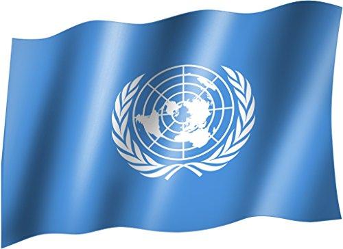 Sportfanshop24 Flagge/Fahne UNO Hissflagge/Hissfahne mit Ösen 150x90 cm, sehr Gute Qualität