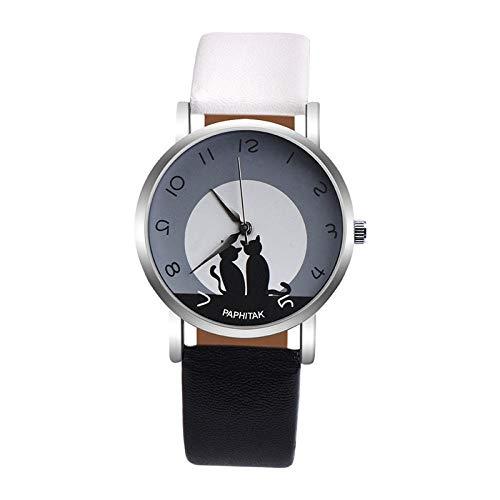 SHOUTAOB RZTZDM - Reloj de pulsera para mujer, diseño de gato, de piel, cuarzo, color
