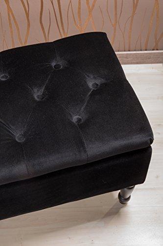 Sitztruhe schwarz mit Beinen, Fichten- und Birkenholz, 80cm - 3