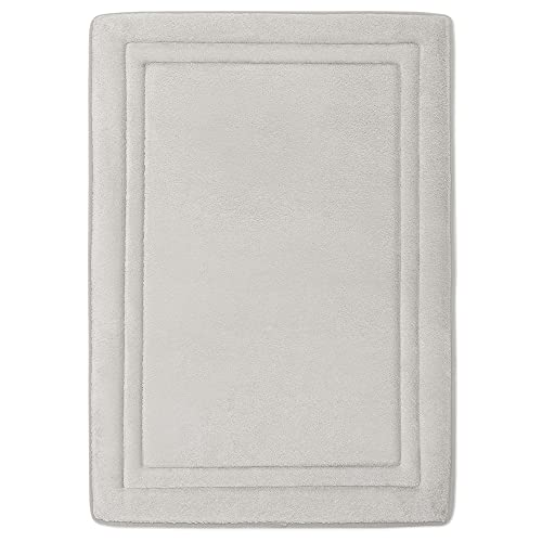 MICRODRY Quick Drying Memory Foam Framed Bath Mat with GripTex Skid-Resistant Base, 17x24, Chrome