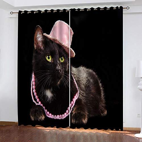 WLHRJ Cortina Opaca en Cocina el Salon dormitorios habitación Infantil 3D Impresión Digital Ojales Cortinas termica - 160x160 cm - Gato Animal Negro