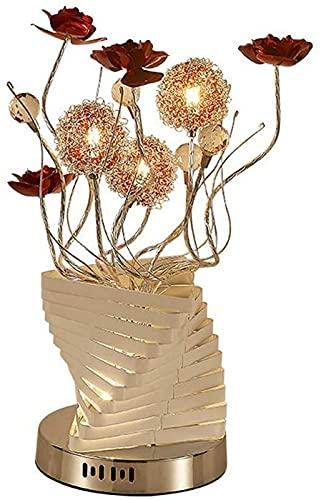 FDGSD Lámpara de jarrón LED de Aluminio con Bola de Cristal de Flores Rojas - Lámpara de Mesa Decorativa para Sala de Estar, Dormitorio, lámpara de pie (Large Sier)