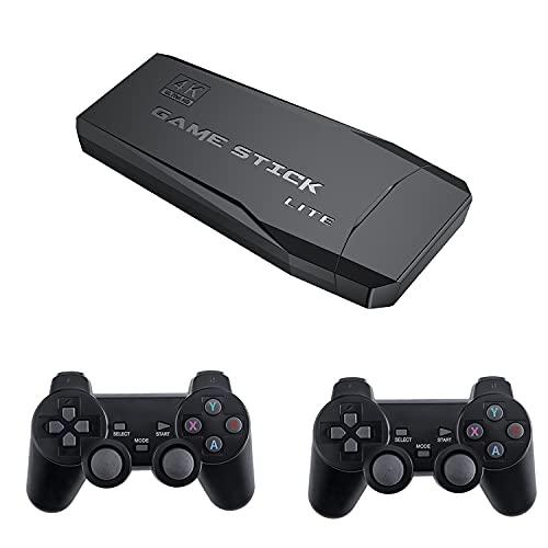 Retro Console Giochi Stick 32GB con 10000 Giochi + 2 pz Gamepad Bluetooth, USB Wireless Console Game Stick for PS1 GBA, Console per videogiochi Mini Game Stick Uscita HDMI 4K