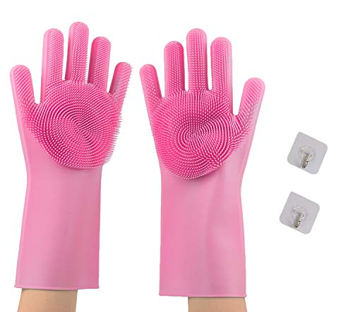 Yufenge Reusable Silicone Dishwashing Gloves, 1 Pair of Magic Cleaning Rubber Scrubbing Gloves for Kitchen Bathroom Car Pet Care(Pink)