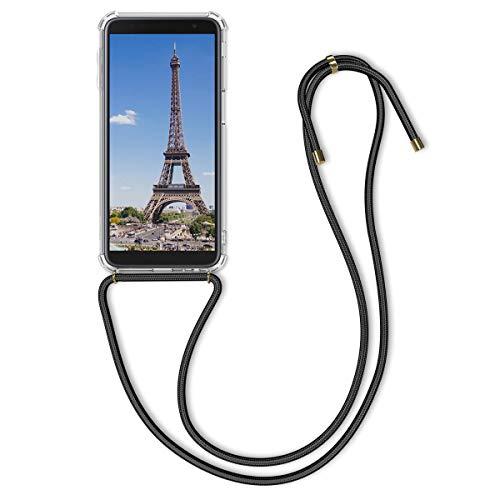 kwmobile Carcasa Compatible con Samsung Galaxy J6+ / J6 Plus DUOS - Funda Transparente TPU con Cuerda para Colgar - Transparente/Negro