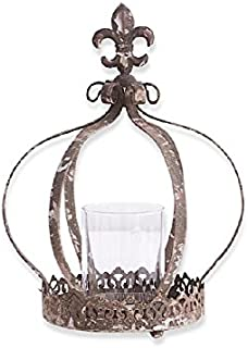 K&K Interiors Metal Crown Candle w/Glass Votive Holder