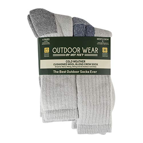 Hot Feet Mens Active Work and Outdoors Socks, Fully Cushioned, Thermal Wool Blend, 4 Pack Warm Reinforced Heel and Toe by HOT FEET (Grey & Blue)