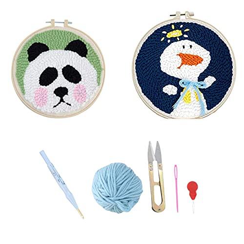 LCYZ 15 piezas de animales de dibujos animados Punzón Aguja Starter Kits Punch Needle Tool DIY...